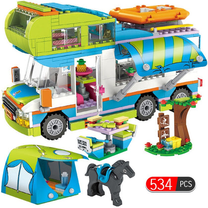 534pcs City Outing Camper Bus Car Girls Figures Building Blocks Compatible Legoingly Friends Bricks Educational Toys for Girls