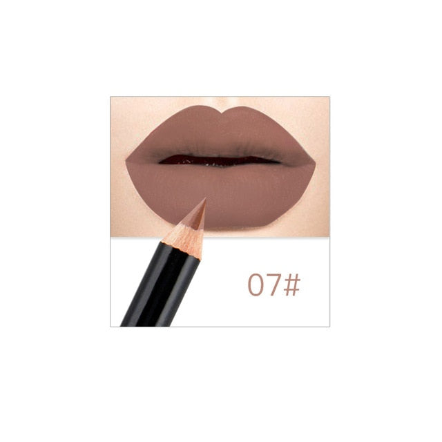 12 Colors Fashion Matte Lip Liner lipstick pen Long Lasting Pigments Waterproof no blooming Smooth soft Makeup tools lips TSLM1