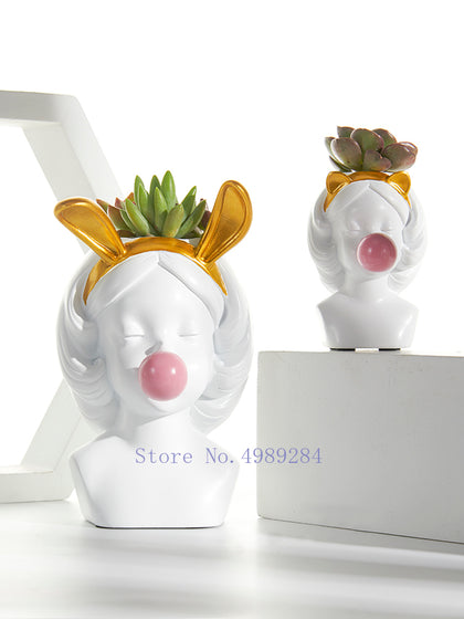 Creative Nordic style Resin vase Cute girl bubble gum Decorative flower pot modern lovely Art decoration Flower arrangement