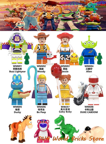 Toys Story 4 Figures Woody Forky Buzz Lightyear Gaby Red hearts Aliens Jessie Bo Peep Ducky Caboom Building Blocks Friends Brick