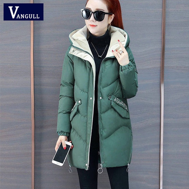 Vangull 2019 Women Winter Hooded Warm Coat Plus Size Green Cotton Padded Jacket Female Long Parka Womens Wadded Jaqueta Feminina