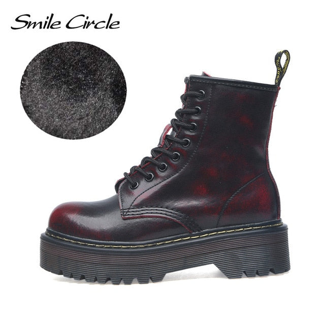 Smile Circle Size 35-42 Flat Platform Boots Women Shoes