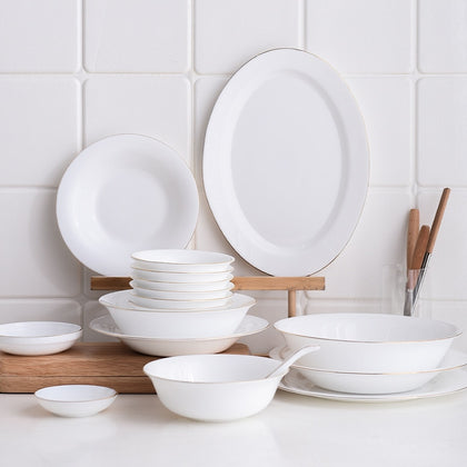 White Dinner Plate Bowl Dinnerware Set with Glod Rim Porcelain Soup Noodle Salad Bowl Fish Plate Spoon Glass Tableware Crockery