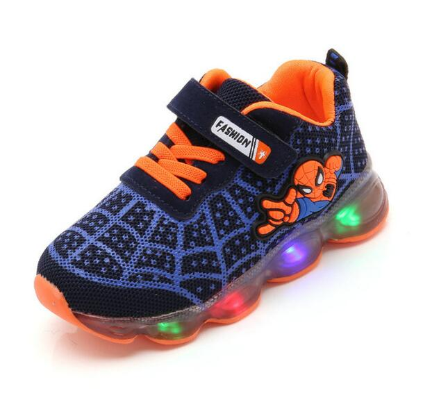 Boys Sneaker Girls Spiderman Kids Led Shoes With Lights Sneaker