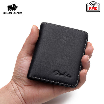 Black Purse For Men Genuine Leather Men's Wallets Thin Male Wallet