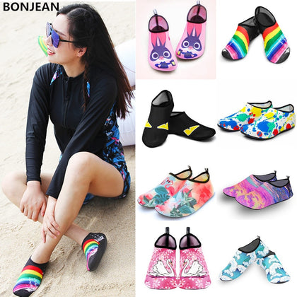 Men Women Water Shoes Swimming Socks Printing Color Summer Aqua Beach Sneakers