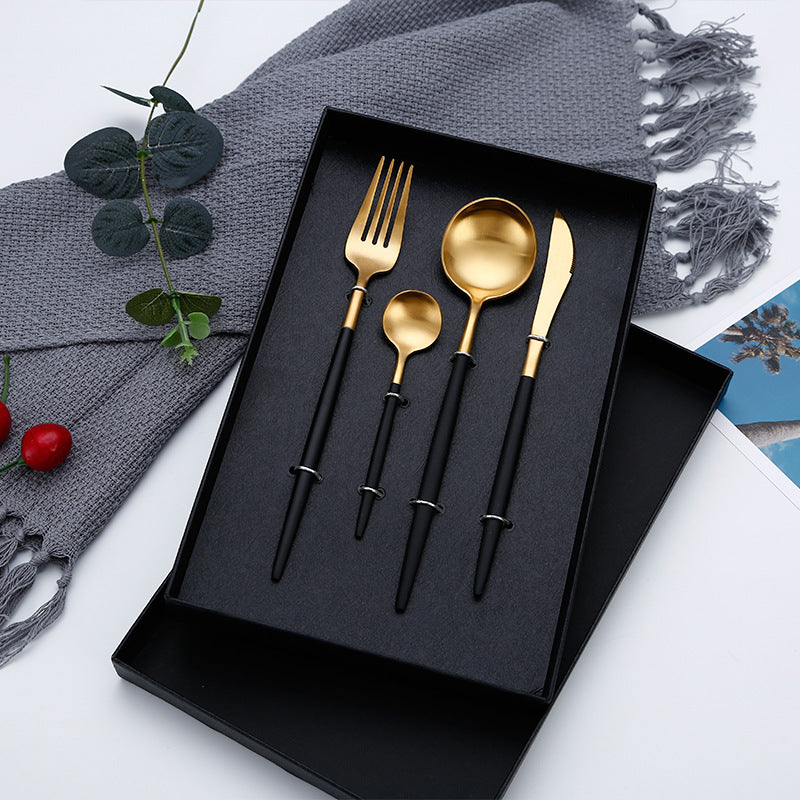 4Pcs/set Black Cutlery Set Stainless Steel Dinnerware Set Gold Flatware Fork Knife Spoon Wedding Silverware Set Drop Shipping