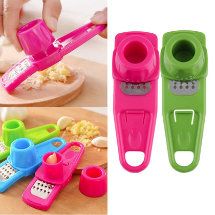 Multifunction Home Kitchen Plastic Stainless Steel Garlic Press Chopper