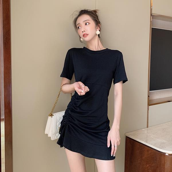 Women Tshirt Dress 2019 Short Sleeve Bandage Solid Summer Dress Casual Sexy Slim Boho Beach Ruffle Party Dress Vestidos Black