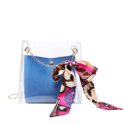 Small PVC Shoulder Bag Women Small Crossbody Messenger Bucket Bag Teenage Girls Sling bag With Scarf Tie for Lady