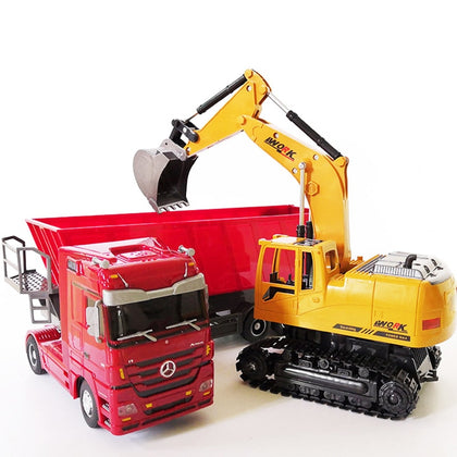 RC excavator toys RC toy Auto Lift Engineering car Dumper Tilting Cart Tip Lorry tractor Crawler Digger Model brinquedos
