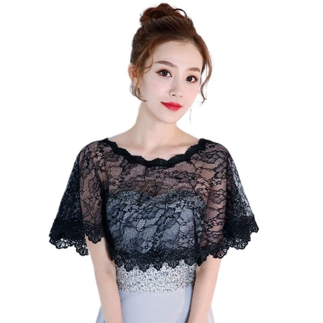 Womens Summer Sunscreen Floral Lace Cape Wrap Crochet Sheer Pleated Wedding Bridal Shawl Shrug Evening Gown Capelet Bolero N84D