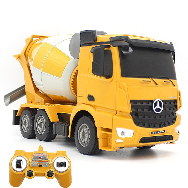 RC Truck 2.4G Remote Control Cement Mixer Engineering Truck 360° Rotation RC Dump Truck With Simulated LED Light Car Toy For Kid