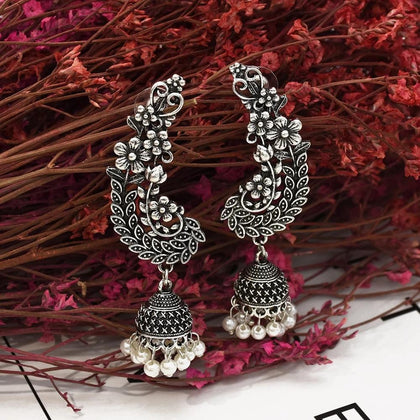 Indian Oxidized Silver Drop Earrings for Women Boho Jhumka