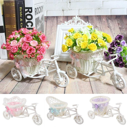 1pc Rattan Tricycle Vase Flower Basket Garden Wedding Party Bedroom Vase Storage Decoration Wedding Decor Garden Flower Pots