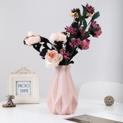 Origami Plastic Vase Milky White Imitation Ceramic Flower Pot Flower Basket Flower Vase Decoration Home Nordic Decoration