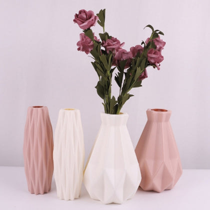 Plastic Vase White Imitation Ceramic Flower Pot Flower Basket Flower Vase ваза Decoration Home Nordic Decoration