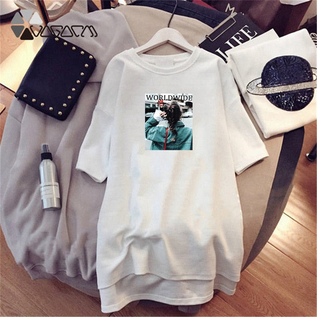 Summer Tshirt Dress Women Short Sleeve White Black Dress Casual Loose Clothes Vestidos Party Dresses Plus Size 4XL Girls 2019