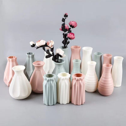Nordic style Flower Basket Flower vase Origami Plastic Vase mini bottle Imitation Ceramic Flower Pot decoration home