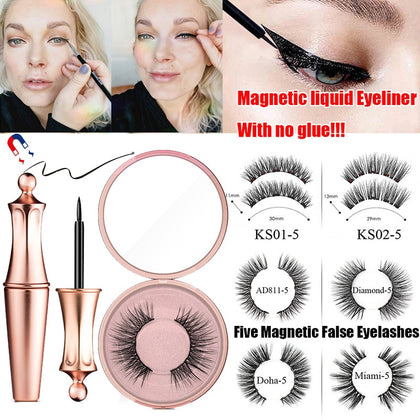 Magnetic False Eyelashes Magnetic Eyeliner Waterproof Smudge proof Easy to Wear Magnetic Eye liner Women Makeup Cosmetics