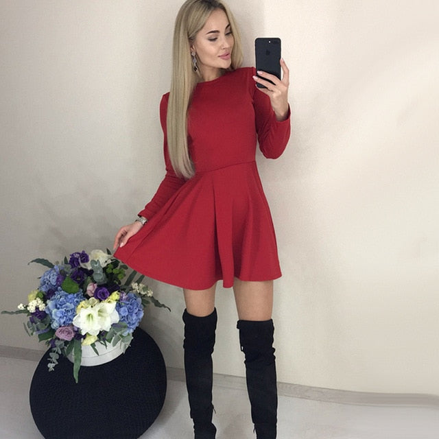 Autumn Long Sleeve Sexy a Line Party Dress Ladies Office Work Basic Shirt Dress 2019 Fashion Elegant Mini Dress Winter Vestidos