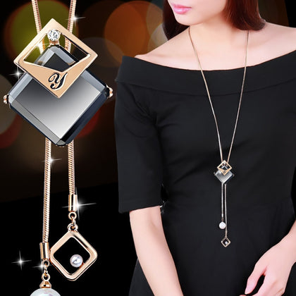 Collier Femme Long Gray Crystal Necklaces & Pendants for Women
