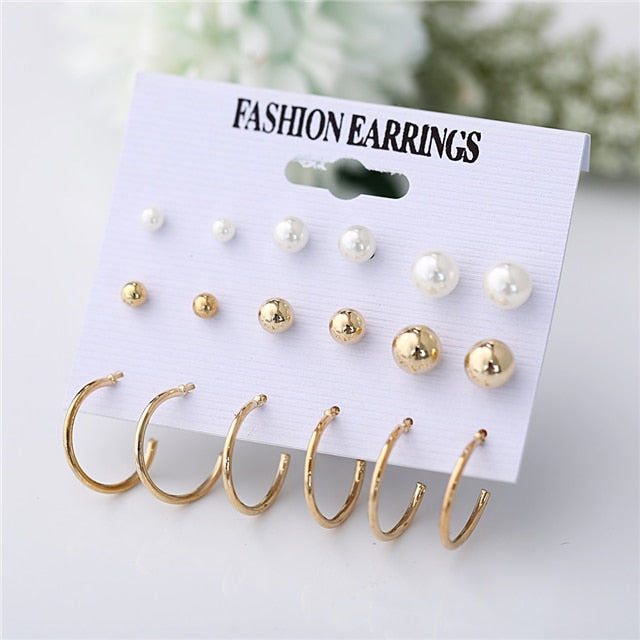 Minimalist Mixed Small Earrings Set Simple Geometric Stud Earrings for Women
