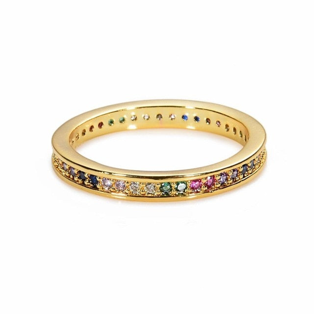 Women's copper CZ Gold Crown rainbow Rings Geometry wedding  Engagement Ring