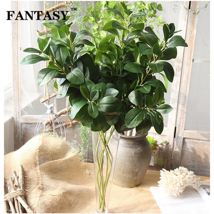 80cm Large Artificial Milan Plant leaves Fake Eucalyptus Silk False Leafs Green Simulation Tree Foliage For Garden Home Decor