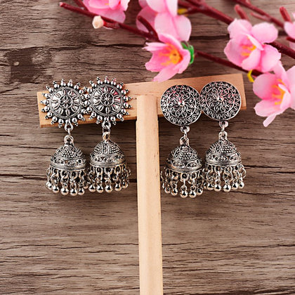 Indian Jhumka Gypsy Jewelry Sliver Boho Vintage Ethnic Womens Earrings