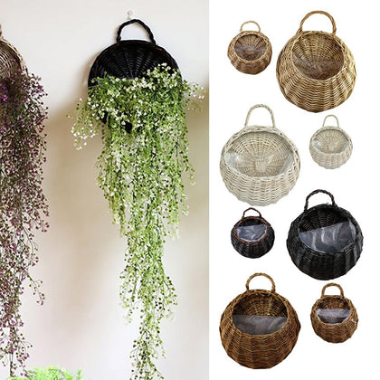 Wall Hanging Natural Wicker Flower Basket Flower Pot Planter Rattan Vase Basket Home Garden Wall Decoration Storage Container