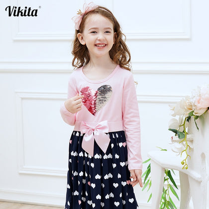 VIKITA Girls Cotton Dress Long Sleeve Children Patchwork Vestidos Kid Dresses