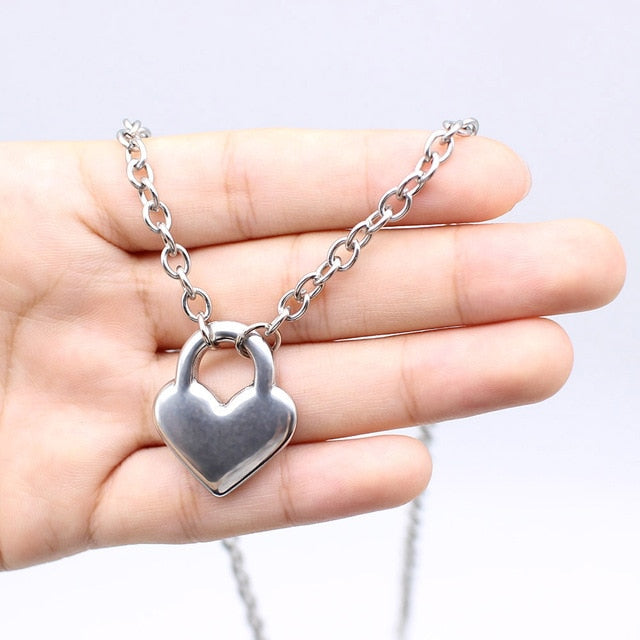 Stainless Steel Silver Color PadLock Pendant Necklaces