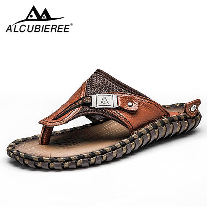 Genuine Leather Luxury Slippers Beach Casual Sandals