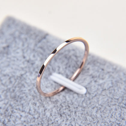 Titanium Steel Silver-color Couple Ring