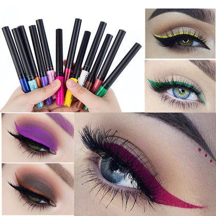 12 Color Eyeliner Liquid Waterproof Easy To Wear Make Up Matte Eye Liner Blue Red Green White Gold Brown Eyliner Maquiagem