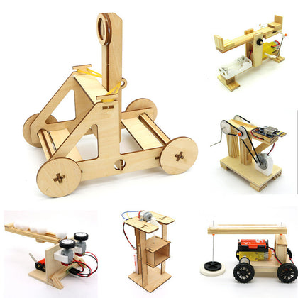 Happyxuan DIY Physical Science Experiment Toys Kids STEM Education Kit School Project Discovery Boy Wood Electric Invention Gift