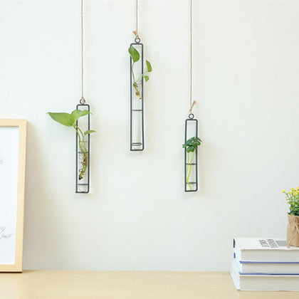 Creative Wall Hanging Flower Vase Iron Glass Hydroponics Planter Pot Transparent Hanging Flower Bottle Home Ornament Decoration