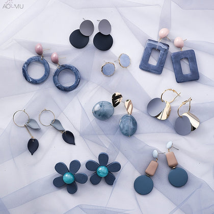 AOMU Korean Blue Geometric Acrylic Irregular Hollow Circle Square Dangles