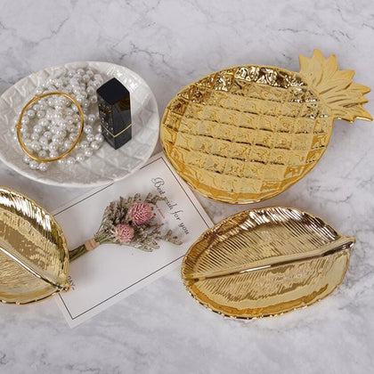 Ceramic Plate Gold Leaf Dish Tableware Porcelain Candy Trinket Dish Fruit Serving Tray Storage Plate Crockery Home Decor