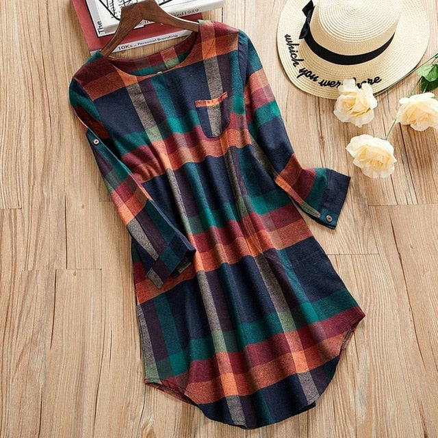 Women Plaid Tops And blouse Ladies O Neck Long Sleeve Loose Pocket Blouse Female Casual Tunic Tops Plus Size Shirts S-5XL#5%