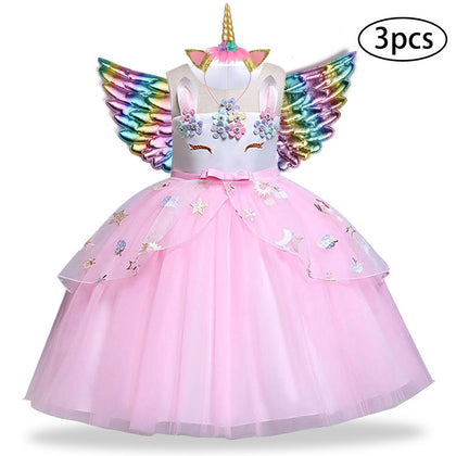 3 Pcs Kids Dresses For Girl Unicorn Party Dress Christmas Carnival Costume