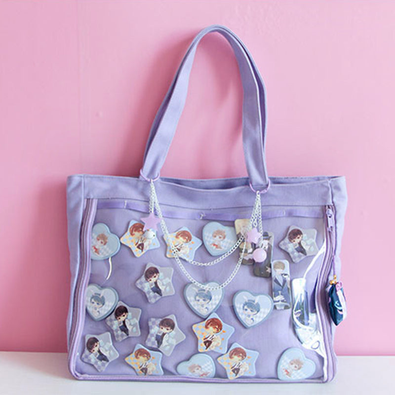 Lovely handbag kawaii clear bag Schoolbags For Teenage Girls Candy Sweet itabag Shoulder bags