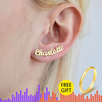 1 Pair Personalized Custom Name Earrings For Women Customize Initial Cursive Nameplate
