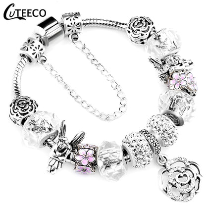 925 Fashion Silver Charms Bracelet Bangle For Women Crystal Flower Fairy Bead