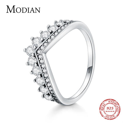 925 Sterling Zircon Crown Finger Ring Classic Stackable