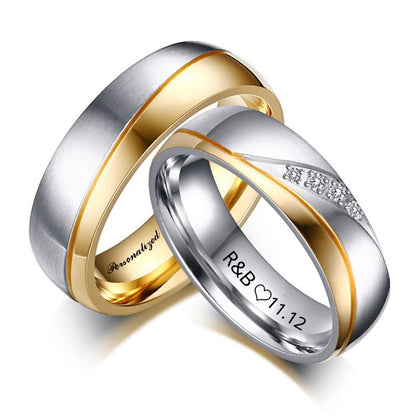 Personalized Name Promised Wedding Rings For Lover