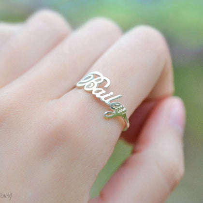 Custom Ring,Personalized Name Ring With Heart,Custom Nameplate Ring For Couple