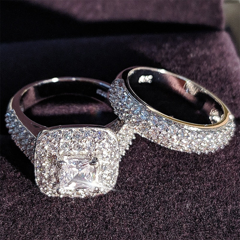 925 Sterling Silver Wedding Ring Set