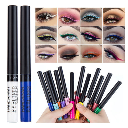 12 Color Liquid Eyeliner Waterproof Make Up Matte Eye Liner Long Lasting Easy To Wear Blue Red Green White Blue Brown Eyeliner